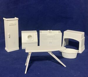 Marx Laundry Washer Locker Basket Mangle Iron Board Sink Dollhouse Furniture