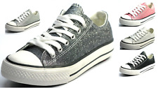New Womens Girls Glitter Lace Up Canvas Shoes Casual Walking Sneakers 5 Colors