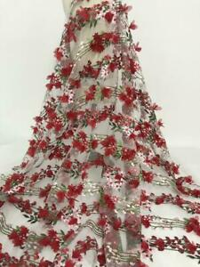 Red 3D Chiffon Flower Lace Fabric Tulle Lace Fabric With Chiffon Rosette Flowers