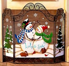 Holiday Christmas Snowman LET IT SNOW Fireplace Screen Country Winter Home Decor