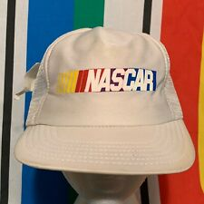 Vintage 90s NASCAR Racing Logo Trucker Hat Snapback Cap White USA New Tag