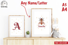 2 Prints ANY NAME LETTER Personalised Nursery BABY Bedroom UNIXEX GIFT Wall Art
