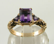 BIG 9K 9CT GOLD AMETHYST EMERALD CUT ART DECO INS TRILLION  RING FREE RESIZE