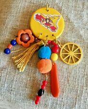 Sicilian Ethnic Pendant Trinacria Design Tassel Coral Cart Wheel Handmade