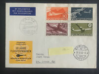 1960 Schaan Liechtenstein cover to Switzerland # C34-C37 Airmail Helicopter