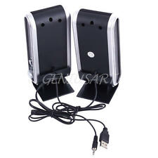 2X BLACK MULTIMEDIA STEREO USB SPEAKERS SYSTEM FOR LAPTOP DESKTOP PC COMPUTER