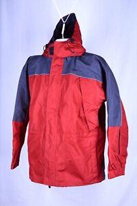Volcom Nimbus Ski Coat Jacket Medium Red Gray Black Zip Up Hooded Vented B162