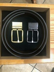 New Coach belt black/brown leather gold/silver buckles