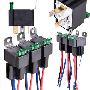 6Pack 12V 30A Fuse Relay Switch Harness Set SPST 4Pin 14 AWG Hot Wires