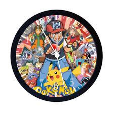 Pokemon Pikachu Ash Black Frame Wall Clock E14