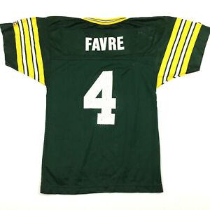 Vtg Champion Green Bay Packers Youth Jersey Brett Favre #4 NFL Football Kids M