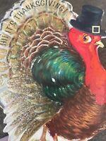 Vintage Thanksgiving Card Glitter Turkey Tom Cute Face Stand Up Hallmark