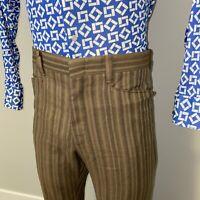 Vtg 60s 70s LEVI'S Sta Prest Pants Flare leg Striped Hippie Disco Mod Mens 33 28