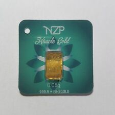 0.05 GRAM GOLD BAR FROM NZP GOLD 999.9 PURE NZP05