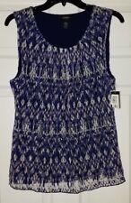 NWT Womens Alfani IKAT Violet Overlay Lace Sleeveless Shirt Top Size L Large