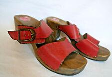 BERKEMANN, Clogs/Sandalette, rot, Absatz 7cm, Leder/Holz, Gr.40,Fußbett,sehr gut