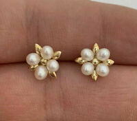 Cultured Pearl Flower Stud Earrings 14K Yellow Gold Over