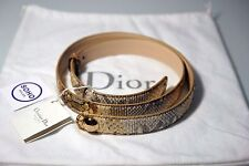 Authentic Christian Dior Beige Python Gold Button Belt - 90cm - New - $660 MSRP