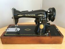 Vintage Singer Sewing Machine with Wooden Dome Carrying Case 1940's