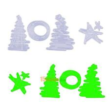 4pcs Christmas Tree Star Metal Cutting Dies Stencil DIY Craft Embossing Tool Set
