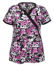 Peaches Med Couture 8431 Mock Wrap Print Scrub Top Pink/Black/White XS