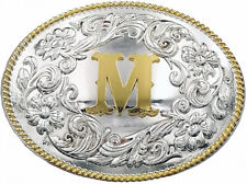 Western Initial Large Belt Buckle Silver Gold Rope Design Cowboy Old English