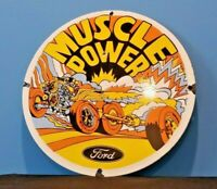 VINTAGE FORD AUTOMOBILE PORCELAIN MUSCLE + POWER SERVICE SHELBY GAS PUMP SIGN