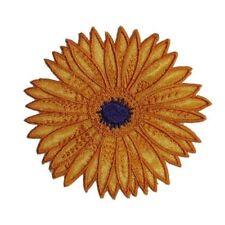 ID 6032 Orange Sunflower Flower Garden Iron On Embroidered Patch Applique
