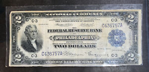 $2 NATIONAL CURRENCY PHILADELPHIA 1918 Laminated