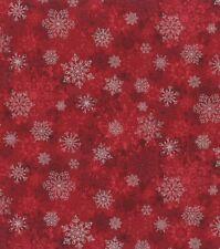Christmas Fabric - Metallic Silver Snowflake on Red - Hi-Fashion Fabric YARD