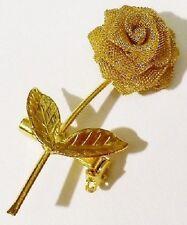 broche rétro la fleur rose en dentelle bijou vintage couleur or poli * 4219