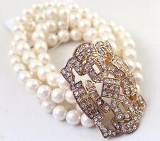 B137 Betsey Johnson Shimmering Pearl Brides Wedding Accessories Bracelet US