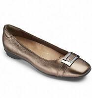 Clarks Candra Glare Ladies Metallic Leather Shoes Flats Ballerina Size UK 5.5