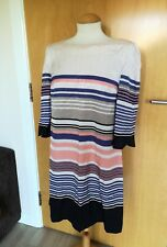 Ladies MONSOON DRESS Size 12 Cream Stripe Tunic Smart Party