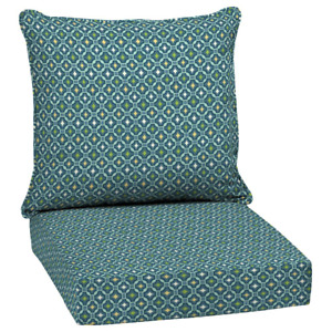 2 Piece Outdoor Lounge Chair Cushions Deep Seating UV Resistant 24x24 Alana Tile