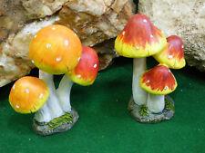 Fairy Garden Miniature Doll House 2pc set Super Bright Cute Mushroom Cluster NEW