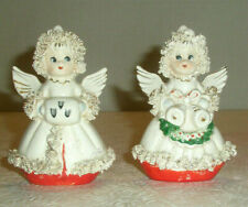 Vintage Commodore Angel Salt & Pepper Shakers Muff Bells Spaghetti Trim