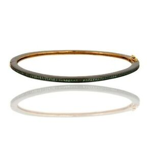Pave Green Garnet Tsavorite Gemstone 14K Solid Yellow Gold Sleek Bangle Jewelry