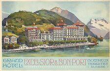 SUISSE SWITZERLAND MONTREUX TERRITET - GRAND HOTEL EXCELSIOR & BON-PORT POSTCARD