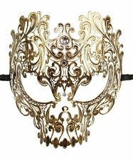 Men's Vintage Gold Metal Laser Cut SKULL Venetian Masquerade Mask NEW BG004VN