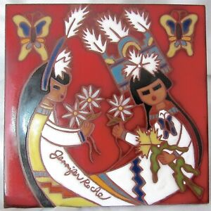 VTG Jennifer Roche Hand Painted Tile Native American Southwest Hopi Mother/Child