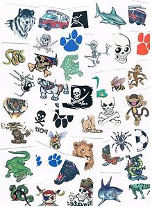 10 x Assorted Boys Temporary Tattoos - Great quality - safe 4 kids & adults