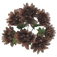 5 Mums Brown Dark Chocolate Wedding Bridal Bouquet Silk Flowers Centerpiece