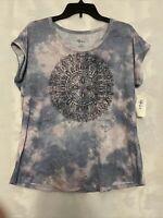 Style & Co. Women's Top Purple Size M Medium Metallic Graphic Print Tie Dye NEW