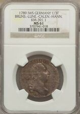 GERMANY BRUNSWICK.. 1789 1/3 THALER SILVER COIN, UNCIRCULATED CERTIFIED NGC MS61