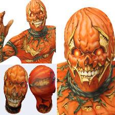 Lycra Spandex Zentai Face Mask Scary Pumpkin Jack-O-Lantern Halloween Costume OS