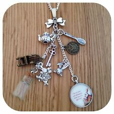 Alice in Wonderland white rabbit Im Late LONG CLUSTER necklace