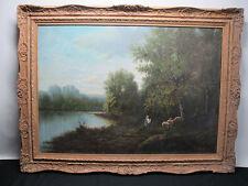 Antique Hudson River School River Landscape & Shepherd Oil n Canvas Painting yqz
