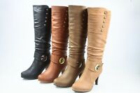 NEW Women's Buckle High Heel Side Zipper Mid Calf Knee High Boots Size 5 - 10