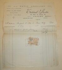 FACTURE de 1925 AU PETIT MOBILIER Thébault ROCHE à CLICHY + Timbre fiscal